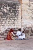 音乐家在Rajastan,印度, 2012年, 1月,第4 免版税图库摄影