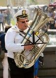 音乐家弹喇叭 库存图片