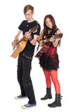 年轻音乐家戏剧吉他 免版税库存图片