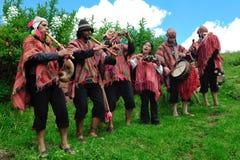 音乐家秘鲁传统 图库摄影