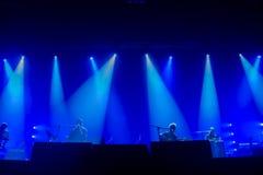 音乐家Silouette音乐会的 免版税图库摄影