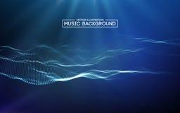 音乐抽象背景蓝色 音乐的调平器,显示与音乐的声波挥动,音乐背景调平器 库存例证