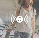 音乐播放器多媒体调平器控制板概念 免版税库存照片