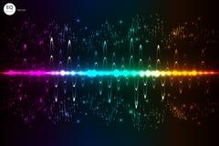 音乐敲打 点燃背景 抽象调平器 声波 音频调平器技术 详细的bokeh 空间fo 免版税库存照片
