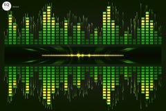音乐敲打 绿灯背景 抽象调平器 声波 音频调平器技术 详细的bokeh 温泉 库存照片