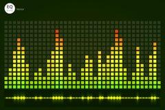 音乐敲打 绿灯背景 抽象调平器 声波 音频调平器技术 详细的bokeh 温泉 免版税库存图片
