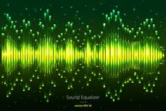 音乐敲打 绿灯背景 抽象调平器 声波 音频调平器技术 详细的bokeh 温泉 免版税库存照片