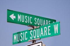 音乐方形的路牌纳稀威,田纳西 免版税库存照片