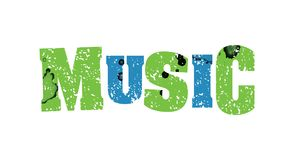音乐概念五颜六色的被盖印的词例证 库存图片
