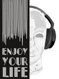音乐概念的盖子 人听的音乐的抽象传染媒介与耳机 艺术性的手拉的设计 向量 图库摄影