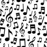 音乐注意无缝的样式 免版税图库摄影