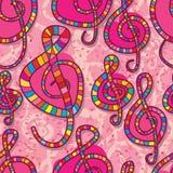 音乐爱笔记桃红色无缝的样式 免版税库存图片