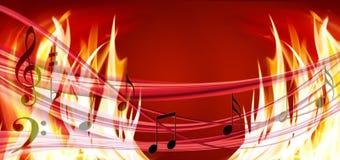 音乐的图象在火背景特写镜头的 库存照片