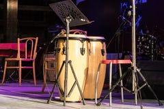 音乐的鼓在音乐会 免版税图库摄影