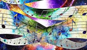 音乐笔记和剪影音乐报告人和空间与星 抽象背景颜色 概念电吉他例证音乐 免版税图库摄影