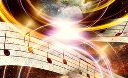 音乐笔记和空间和星与abstrtact上色背景 免版税库存图片