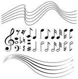 音乐笔记和线纸的不同的标志 皇族释放例证