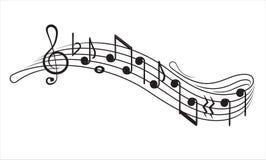 音乐笔记和g谱号在а音乐职员,装饰元素您的设计的 向量例证