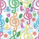 音乐笔记水彩垂直的鸟线无缝的样式 向量例证