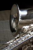 音乐老萨克斯管页 免版税库存照片