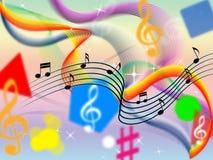 音乐背景意味古典流行音乐和五颜六色的丝带 库存图片