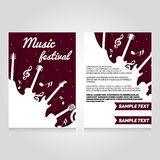 音乐节小册子飞行物设计模板 传染媒介音乐会海报例证 传单在A4大小的盖子布局 免版税库存照片