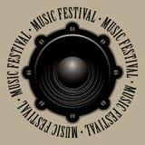 音乐节的横幅与音响报告人 库存照片