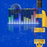 音乐设计、调平器和吉他串 免版税库存照片