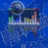 音乐设计调平器和吉他 免版税图库摄影