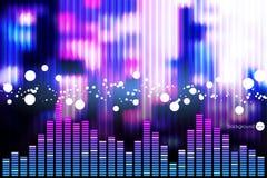 音乐调平器酒吧的例证在发光的背景中 免版税库存图片