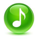 音乐象玻璃状绿色圆的按钮 免版税库存照片