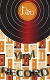 音乐音频是一个老葡萄酒减速火箭的行家古董唱片和题字唱片在60 ` s的背景 向量例证