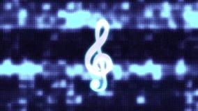 音乐高音谱号标志小故障屏幕畸变全息照相的显示动画无缝的圈背景新的质量 库存例证