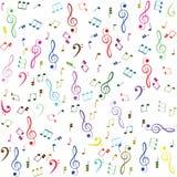音乐 五颜六色的高音谱号和笔记 免版税库存照片