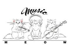 音乐 传染媒介套逗人喜爱的春天猫 乐队 向量例证