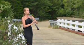 音乐系列-室外单簧管球员 库存图片