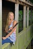 音乐系列-室外单簧管球员 免版税库存照片