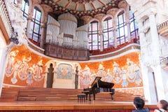 音乐巴塞罗那, Spai帕劳de la MAosicaca Catalana或者宫殿  库存图片