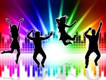 音乐兴奋表明声槽和跳舞 向量例证