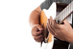 音响电吉他弹奏者 免版税库存照片
