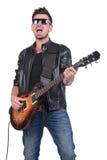 音响详细资料吉他吉他弹奏者递instrumant音乐执行者使用 免版税库存照片