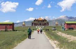 巴音布鲁克草原寺庙在新疆 库存图片
