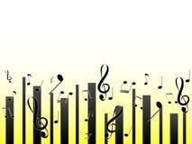音符美妙的简单设计光和黄色背景的 向量例证