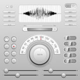 音量控制按钮音乐播放器象传染媒介 免版税库存图片