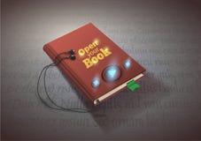 音频书,传染媒介例证的概念与耳机的 库存图片