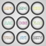 音频和录影格式的圆的颜色象 免版税库存图片