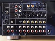 音频录影放大器的后面板 免版税图库摄影