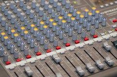 音频控制台特写镜头 免版税库存图片