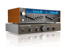 音频联合功率放大器和图表调平器3d illus 库存图片