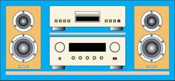 音频高保真组分:扩音器,光盘播放机,放大器 免版税图库摄影